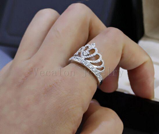 Vecalon 2018 Lovers Corona anello 5A zircone CZ 925 Sterling Silver matrimonio fidanzamento Riempito Fedina gli uomini delle donne