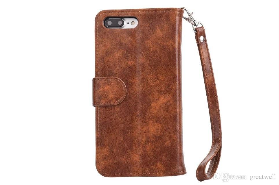 2 en 1 desmontable con cremallera Cartera de cuero cubierta de la caja del teléfono con la correa para iPhone 11 Pro Max XS XR 8 7 6S Plus Samsung S8 S9 S10e Plus Nota 8 9