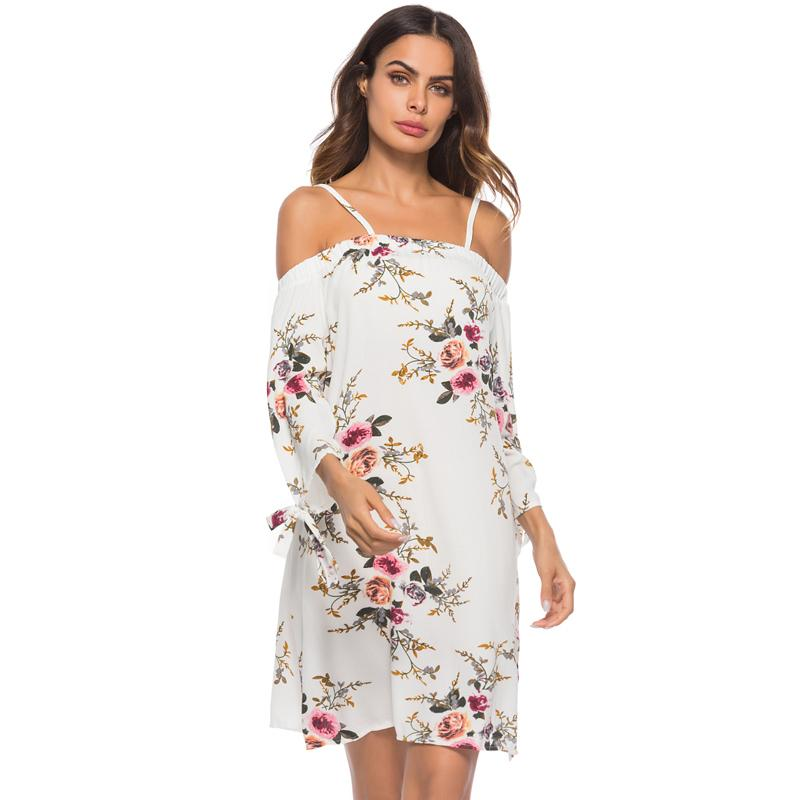 6a65b33f532b Sexy Women Plus Size Dress Off The Shoulder Floral Print Backless Sexy Summer  Beach Dress Strap Elegant Party Mini Dress White Clothing For Black Women  ...