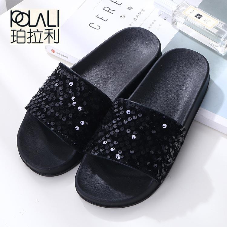 8bbd0641ad8 POLALI New Summer Women s Slippers PU Bling Bling Slides Flat Soft ...