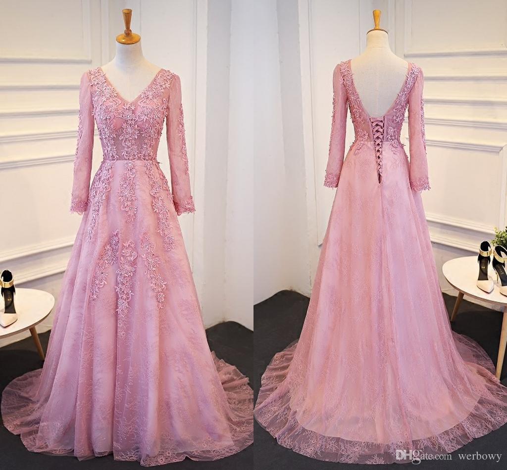 New Kind Shooting Mauve V Collar Lace Applique Crystal Formal ...