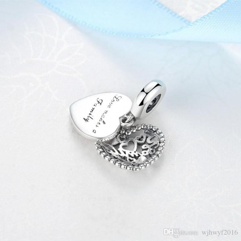 Neue authentische 925 Sterling Silber Liebe macht eine Familie baumeln Charme, rosafarbene Emaille-Raum-Kristall-Korne passten Marke Charm Armband DIY Schmuck