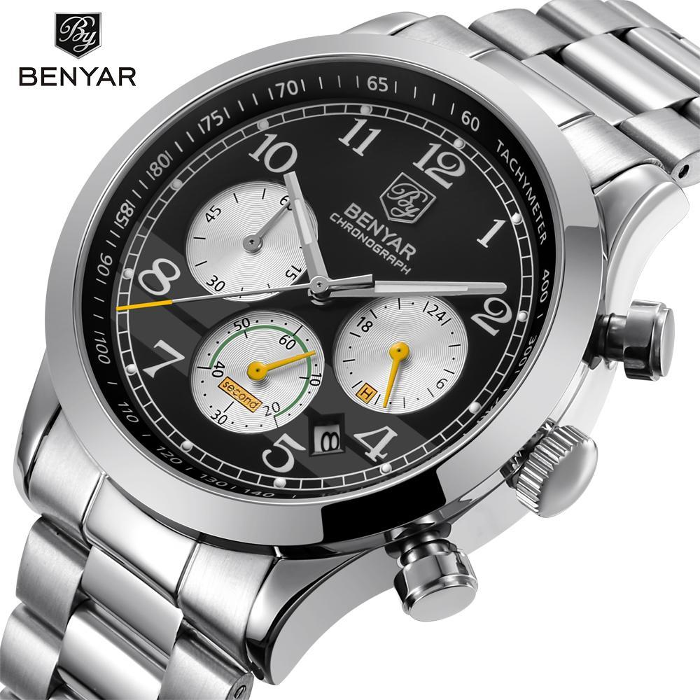 b73d1b6ed893 Compre BENYAR Marca De Lujo Cronografo Hombres Relojes Deportivos  Impermeable Completo Reloj De Cuarzo De Acero Para Hombre Reloj Relogio  Masculino A  42.62 ...