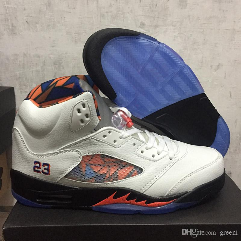 7c004ec4f5513 2019 Hot Sale 5 International Flight Basketball Shoes Sail Orange Peel Black  Hyper Royal White Cement OG Sneakers With Box 136027 148 From Greeni, ...