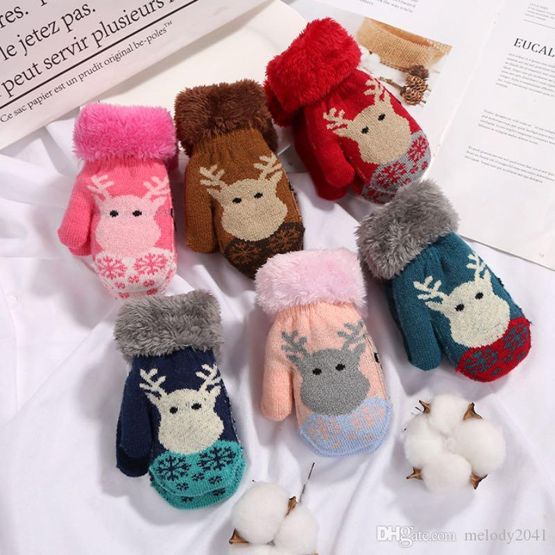2019 2018 Hot Sale Winter Elk Head Children Knitted Gloves