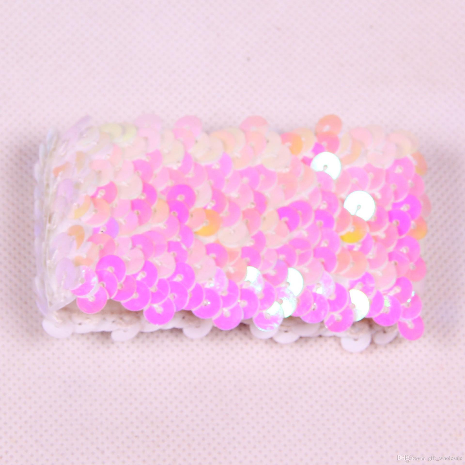 10 cores charme elástico pulseiras diy sereia lantejoula pulseira de glitter jóias bangle festa de casamento presentes de natal