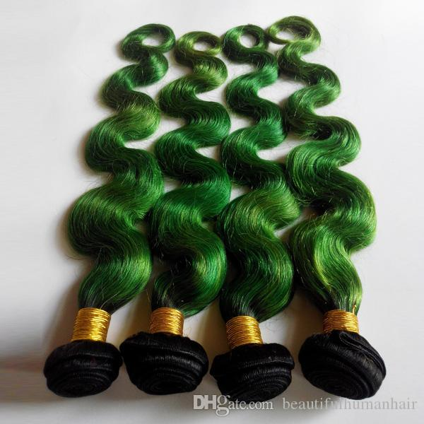 Tone Ombre Weaves Brazilian Body Wave Human Hair Weft 8-26inch New Star European Indian Hair Extensions 1B/green No Shedding No Tangle