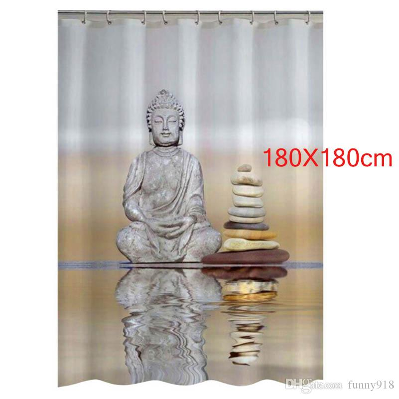 2019 Shower Curtain Buddha Pebble Reflection Design Bathroom Waterproof Mildewproof Polyester Fabric With 180X180cm From Funny918 1126