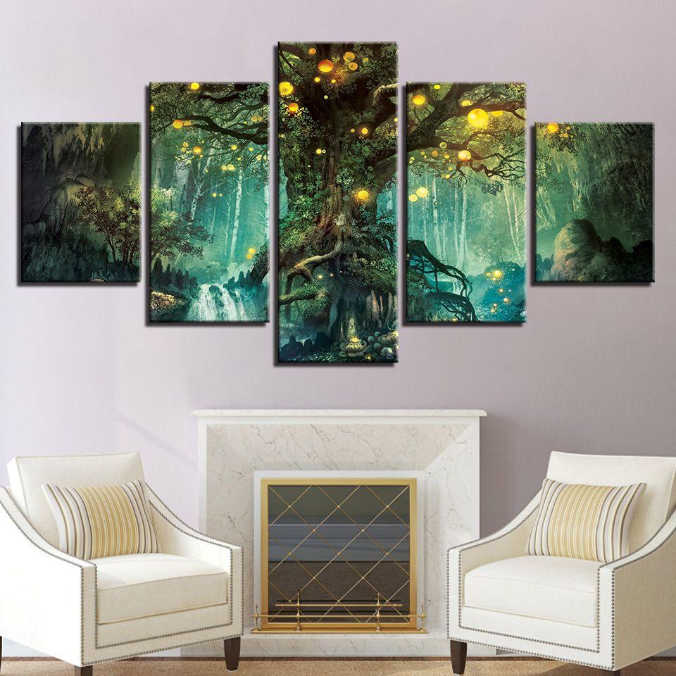 Großhandel Leinwandbilder Wohnzimmer Wand Kunstdrucke 5 Stück Verzauberter  Baum Landschaftsbilder Zauberwald Poster Wohnkultur Rahmen Von Weichenart,  ...