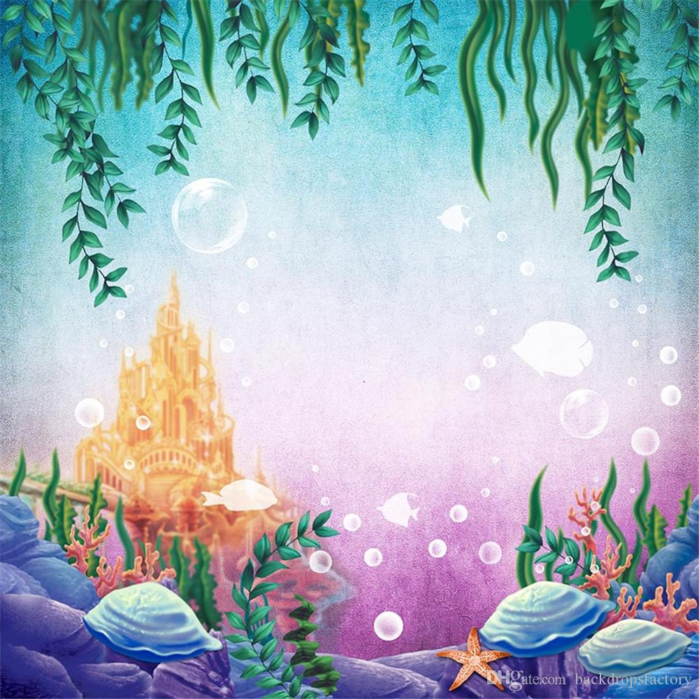 2018 Gold Castle Under The Sea Backdrop Photography Green Leaves Fishes Bubbles Princess Little Mermaid Birthday Party Photo Booth Background From
