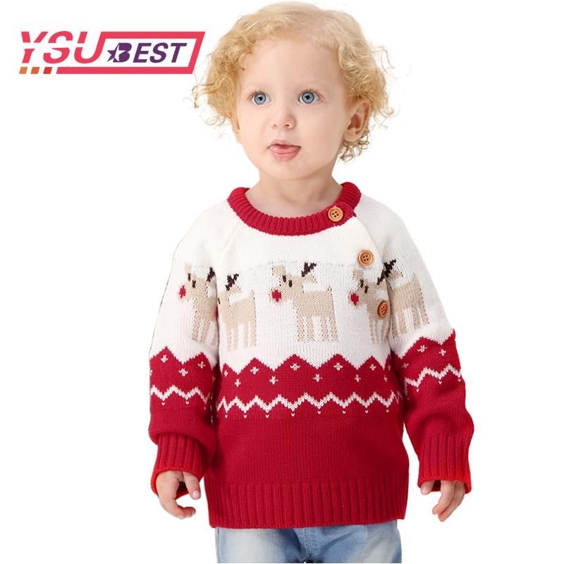 3af78042cb16 2018 Baby Boys Sweaters Christmas Deer Knitting Pattern Casual New ...