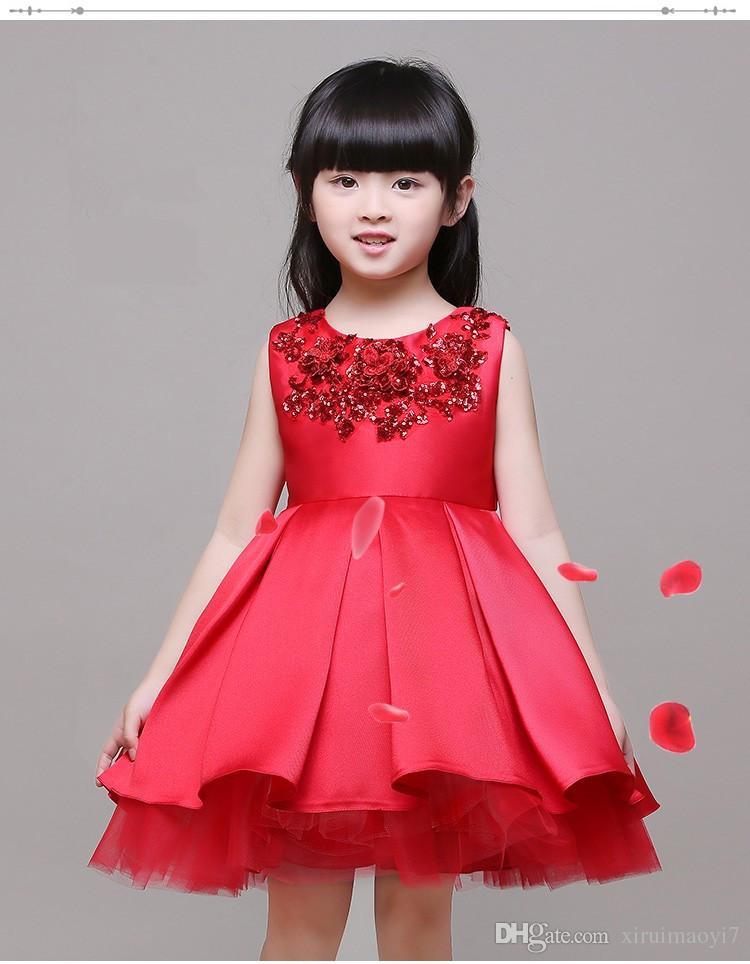3-12 T Marque Satin Fleur Fille Robe Rouge Sequin Princesse Tutu Parti Robes De Mariée pour Filles De Noël Style Doux Enfants Robe