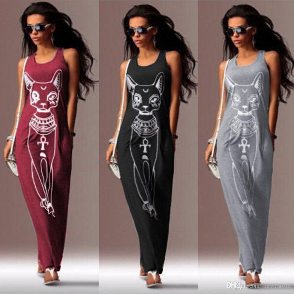 a68a1127ea3e 2018 Women Summer Long Maxi Dress Casual Cat Print Boho Beach Dress Sexy  Evening Party Bodycon Dress Vestidos Largos Mujer XXXL Dresses For Evening  Party ...