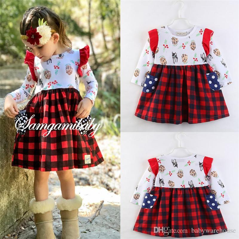 2018 girls dresses fashion 2018 kids girls clothing canis lovely baby girls christmas dress plaid party casual long sleeve dress clothes 2 7y from - Girls Plaid Christmas Dress