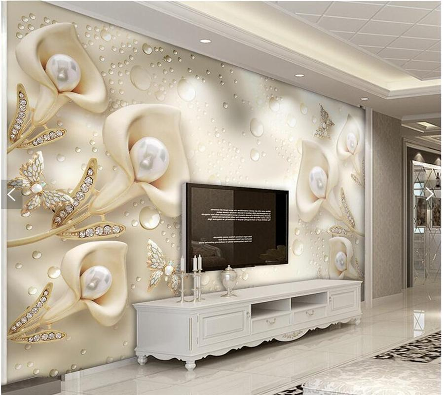 Custom Papel De Parede 3d Calla Lily Butterfly Murals For Living Room Bedroom Dining TV Backdrop Decorative Silk Wallpaper Desktop