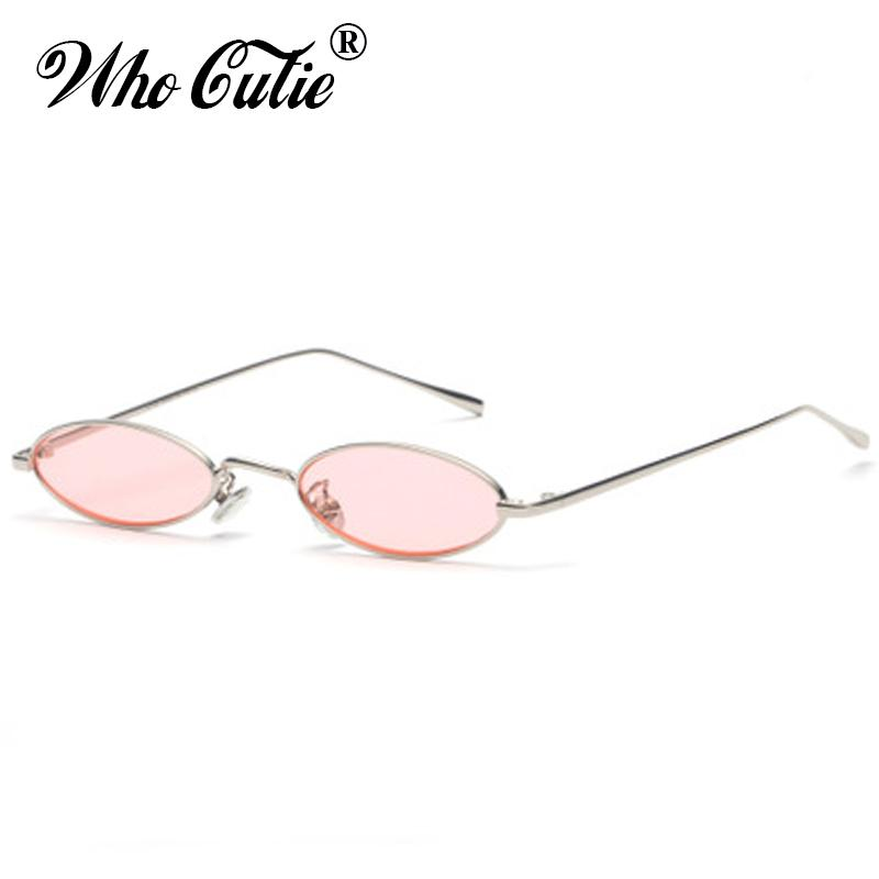 d0db896b6b WHO CUTIE 2018 Small Slim Oval Sunglasses Women Brand Designer Retro Pink  Red Yellow Tint Clear Lens Sun Glasses Shades OM512 Bifocal Sunglasses  Retro ...