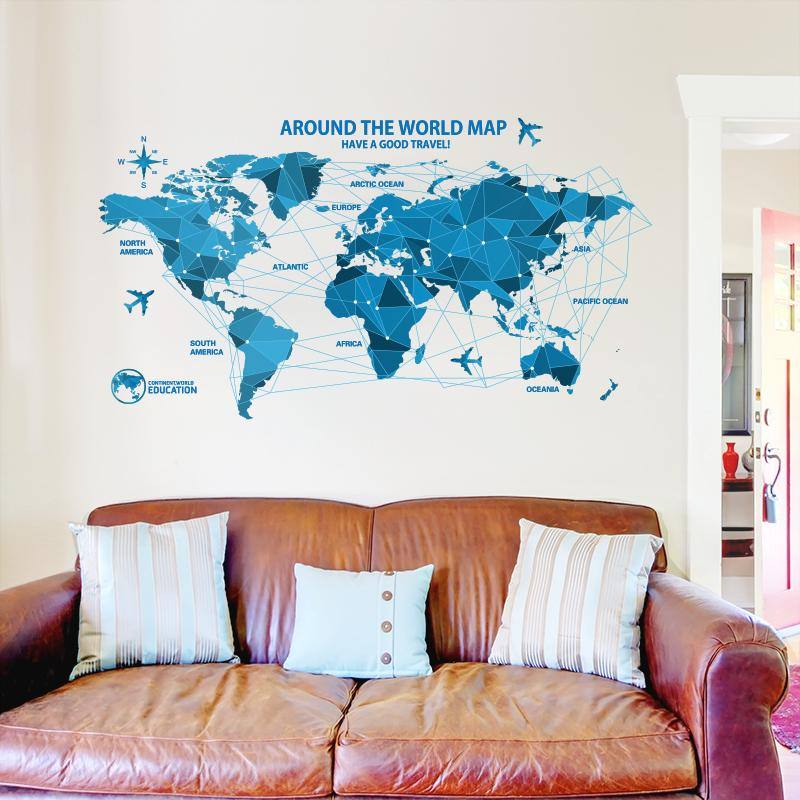 Waterproof 3d Blue World Map Wall Stickers Office Rooms Decals