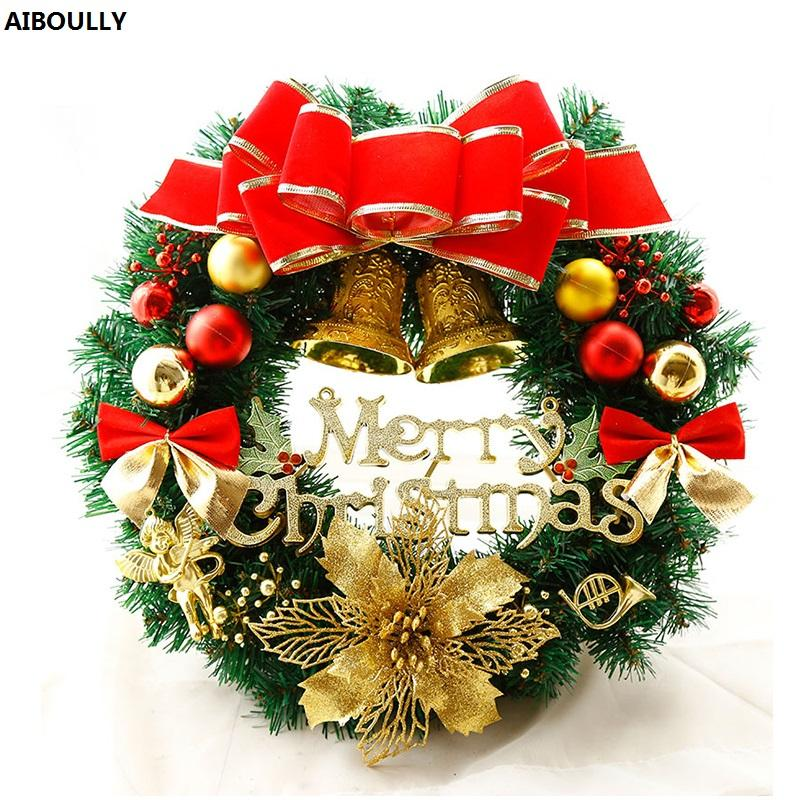 new years christmas wreath with warm led lights bowknot ball bell