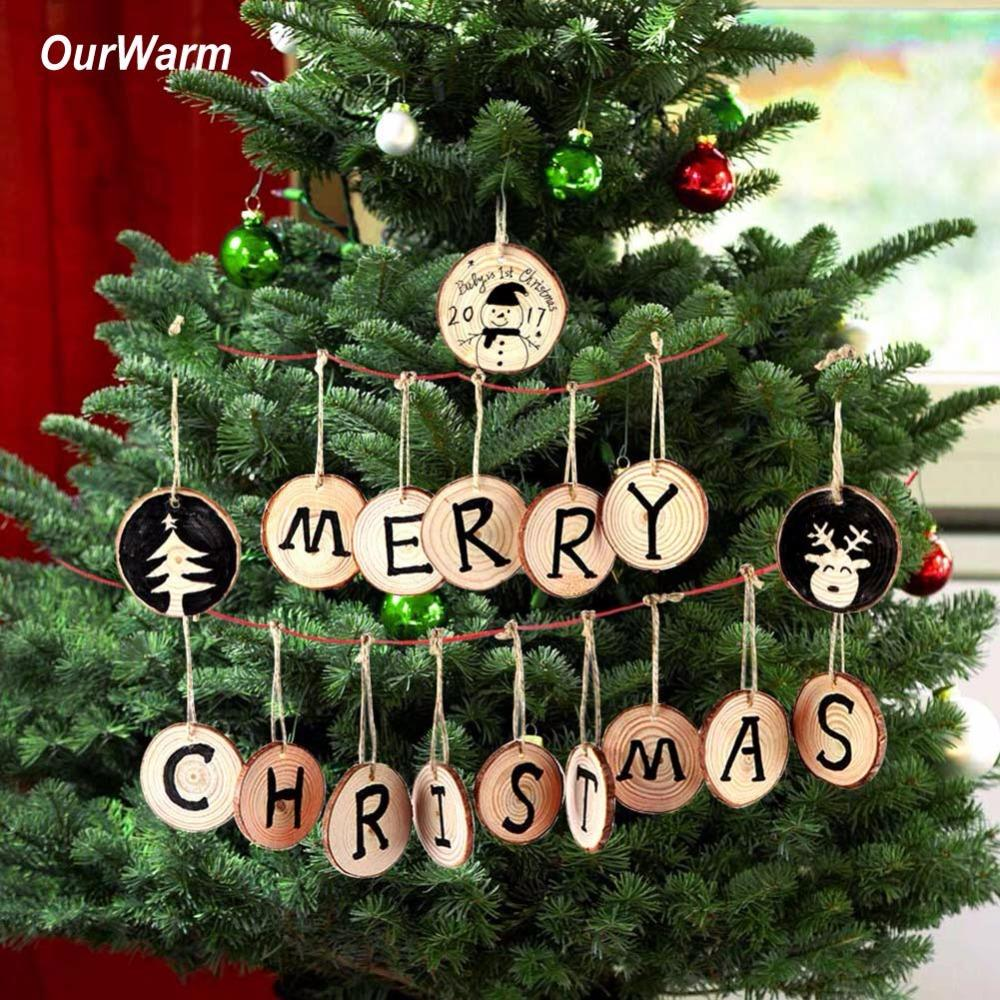 ourwarm christmas tree hanging ornaments 5 6cm round wood slice nature wooden gift tag christmas decorations for home cheap christmas decorations for sale - Cheap Christmas Decorations Online