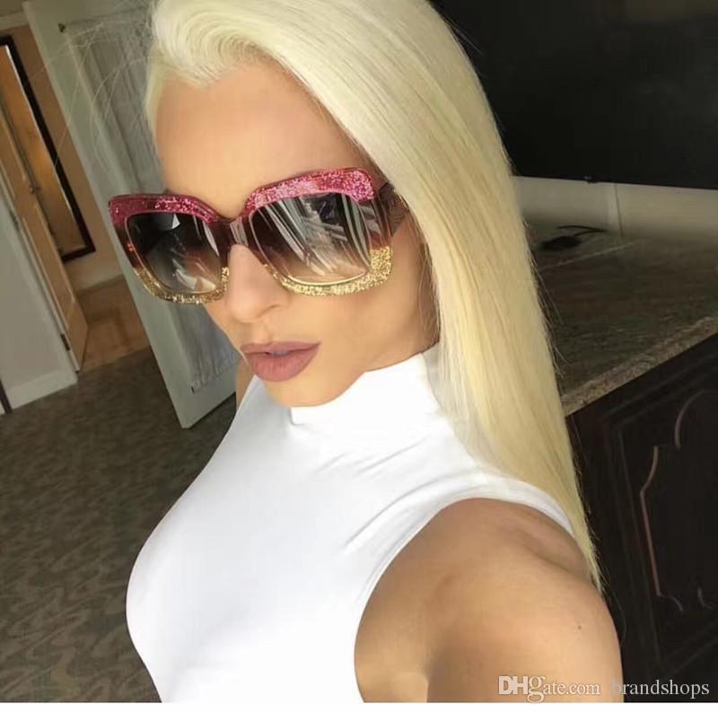 WOMEN الفاخرة عالية الجودة الرجعية إطار كبير مصمم العلامة التجارية خمر النظارات نظارات شمس للنظارات شمس نساء الظل الأزياء الأشعة فوق البنفسجية مع حالة