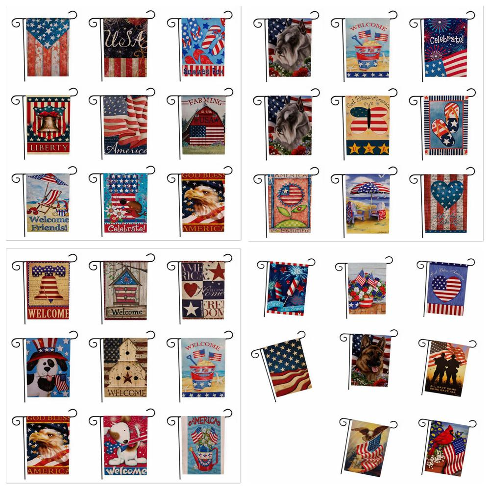 33designs EE. UU. Union Garden Flag Party Home Decor American Flag Series Patrón Doble cara Jardín Bandera Hogar Césped Decoración 47 * 32 cm FFA1929 50pcs