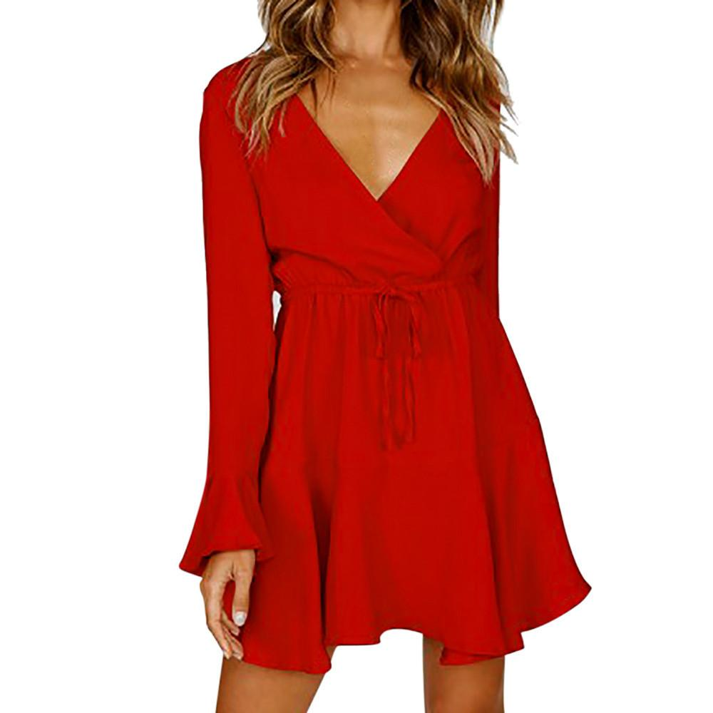 f311f596ee87 Women Fashion Red Dress Long Sleeve Deep V Tie Waist Mini Dresses Solid  Flare Sleeve Party Dress  VE Green Sundresses Black Women Clothes From  Fafachai10