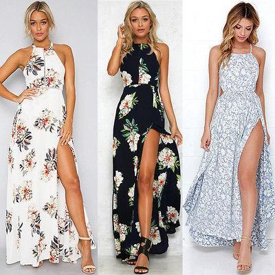 6ce31566834 Women Summer Boho Long Maxi Party Beach Dress Evening Floral Dresses Ladies  Womens Print Flower Sundress Womens Floral Dress Strapless Party Dresses  From ...