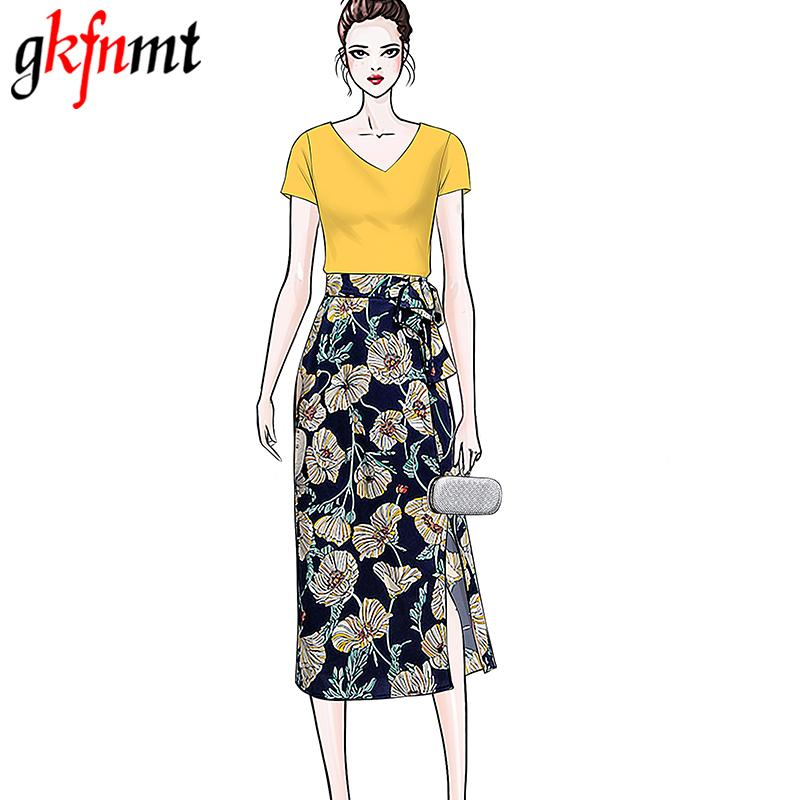 3f8419529da 2019 Gkfnmt Two Pieces Suits Sets Women Cotton White Yellow Tshirt Top Sexy  Chiffon Floral Skirt Women Clothing Korean XXL From Hongyeli