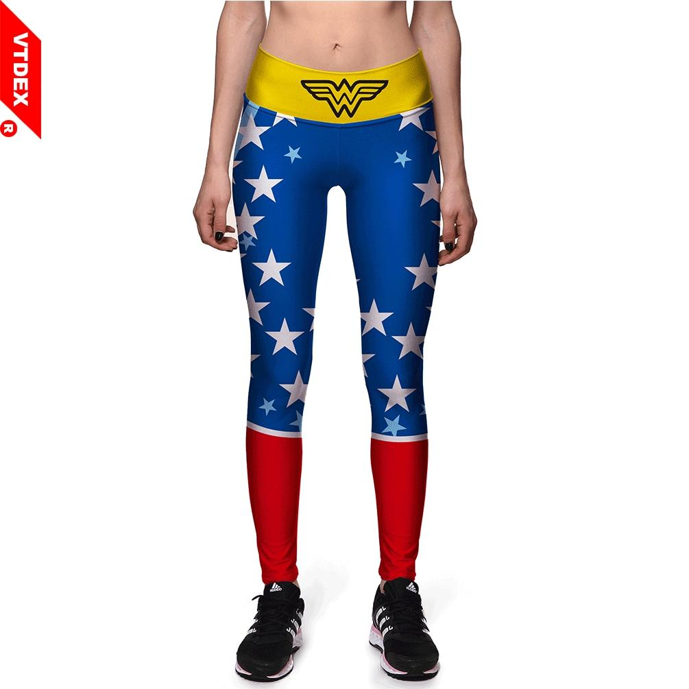bc05188375741 2019 VTDDEX Women Skinny Yoga Pants Marvel Wonder Women Pattern Sports  Fitness Leggings American Breathable Workout GYM Pants From Bingquanwat, ...
