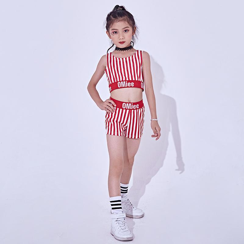 Acquista Costume Da Jazz Bambini Hip Hop Con Paillettes A Righe Rosse 4be1603b5b5