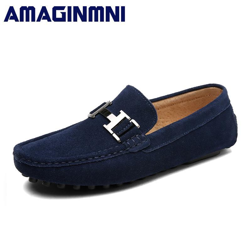 91ba26ad16 Compre Amaginmni Nuevo Slip On Zapatos Casuales Hombres Mocasines Primavera  Y Otoño Para Hombre Zapatos De Cuero Genuino De Los Hombres A $43.61 Del ...