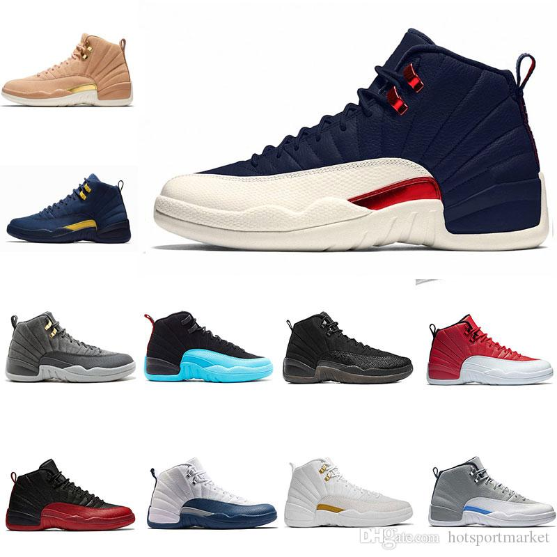 17aba0783843 2018 NEW 12 Mens Basketball Shoes College Navy Michigan UNC White Black  Bulls Flu Game Taxi The Master Sports Trainer Shoes Sneaker Us 8 13  Basketball Shoes ...