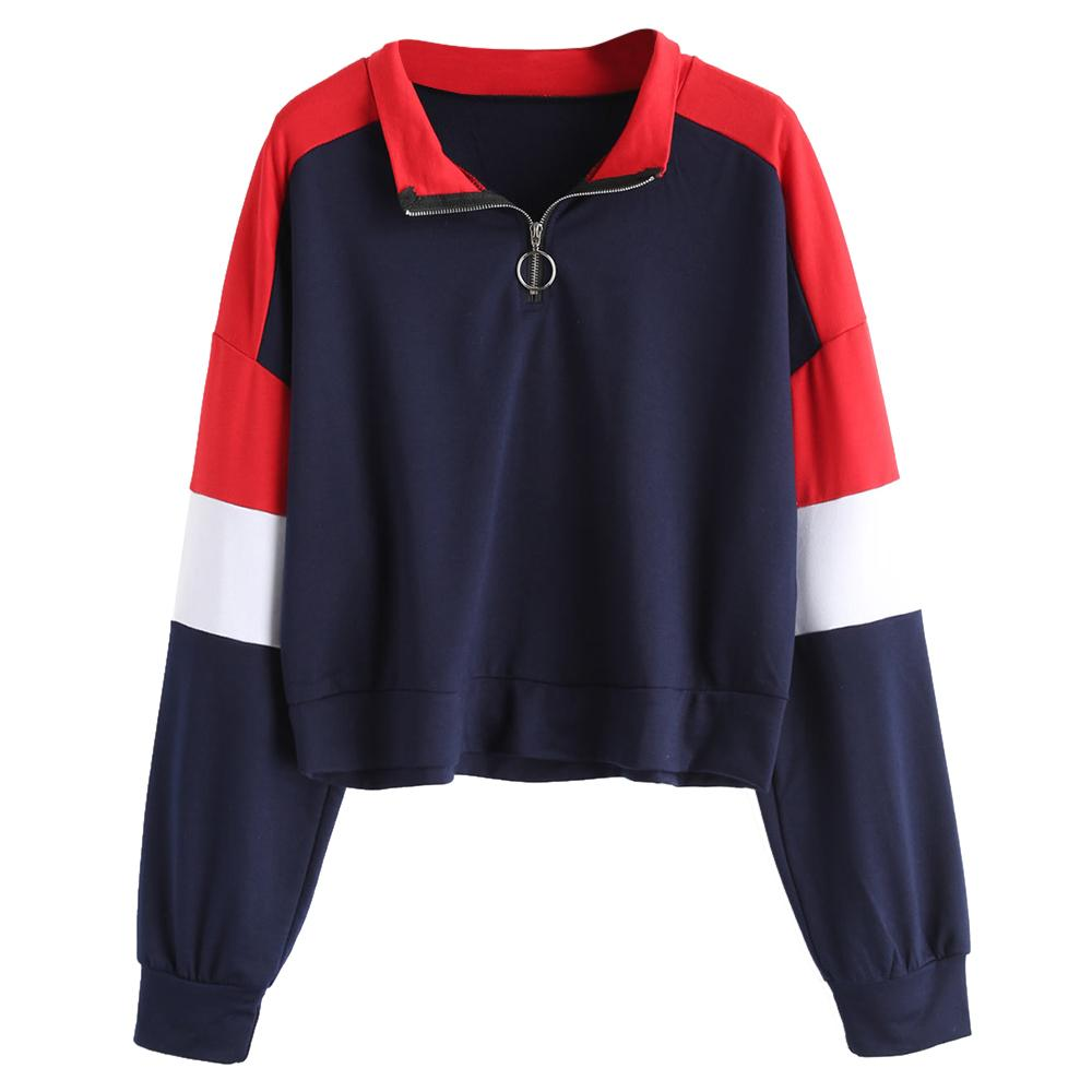 0721ad90c5c89d 2019 Wipalo Women Zip Front Contrasting Sweatshirt Turn Down Collar Full  Sleeve Drop Shoulder Patchwork Pullovers Causal Autumn Tops From Xaviere