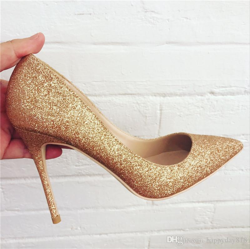 buying cheap first rate arrives Fashion Women Pumps Gold Glitter Point Toe High Heels Thin Heel Shoes  Genuine Leather Bride Party Shoes Wedding Shoes Mens Casual Shoes Penny  Loafers ...
