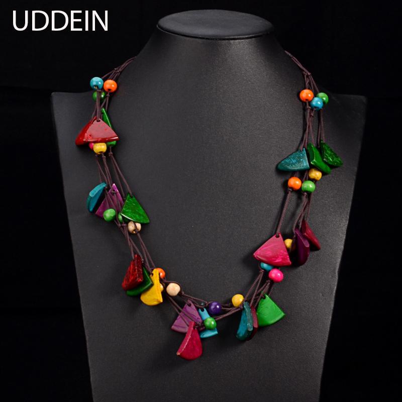 6b5bcb4f5a98 UDDEIN New design bohemian necklace vintage statement bib collares handmade  multi layer wood jewelry online shopping india maxi