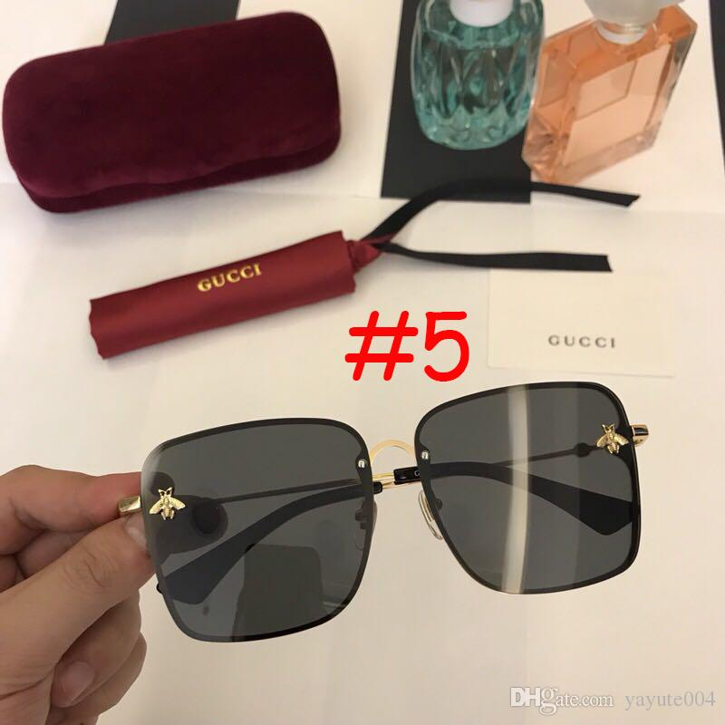 Sun Luxury Shades High Female 2018 Sunglasses Quality Women Bee Big Glasses Retro For Brand Square Designer Vintage Frame jAL54R