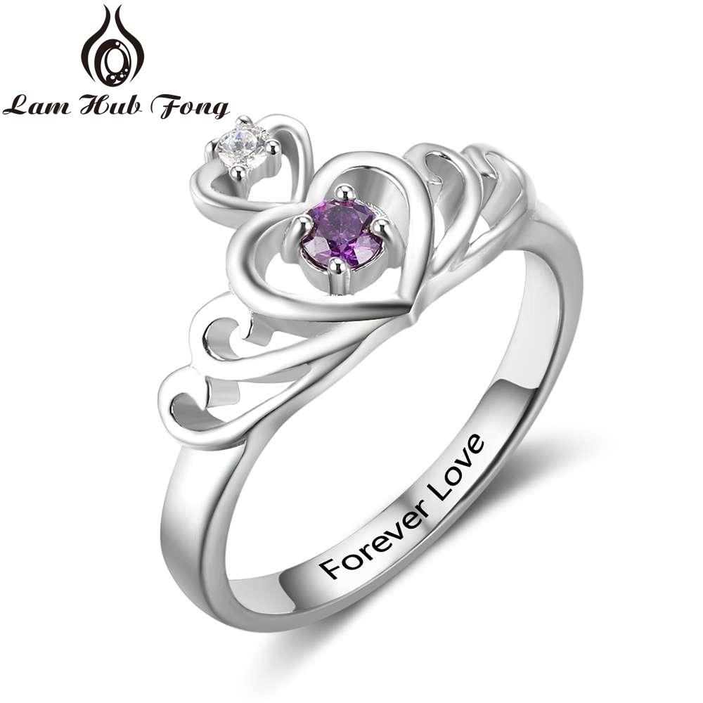 f65f31996 2019 925 Sterling Silver Engraved Name CROWN Rings For Women Customized 12  Month Birthstone Ring Personalized Gift Lam Hub Fong From Wutiamou, ...