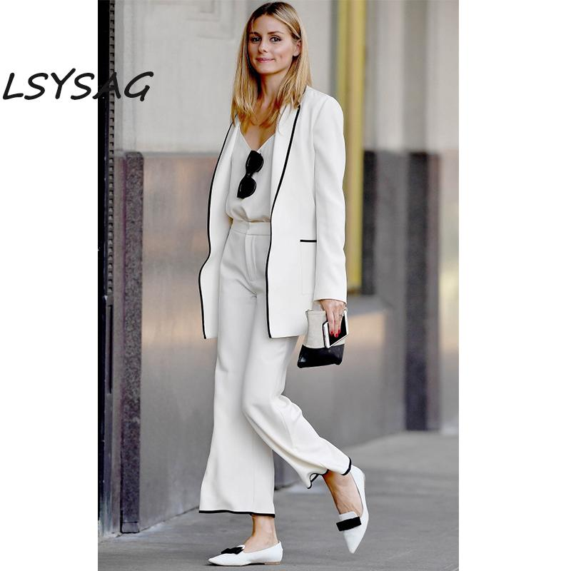 9549cbc1f6f 2019 LSYSAG Women Suits Clothing 2018 Spring Autumn Black White Wide Leg  Pants Office Lady Long Sleeve Coat Elegent Fashion From Lichee666