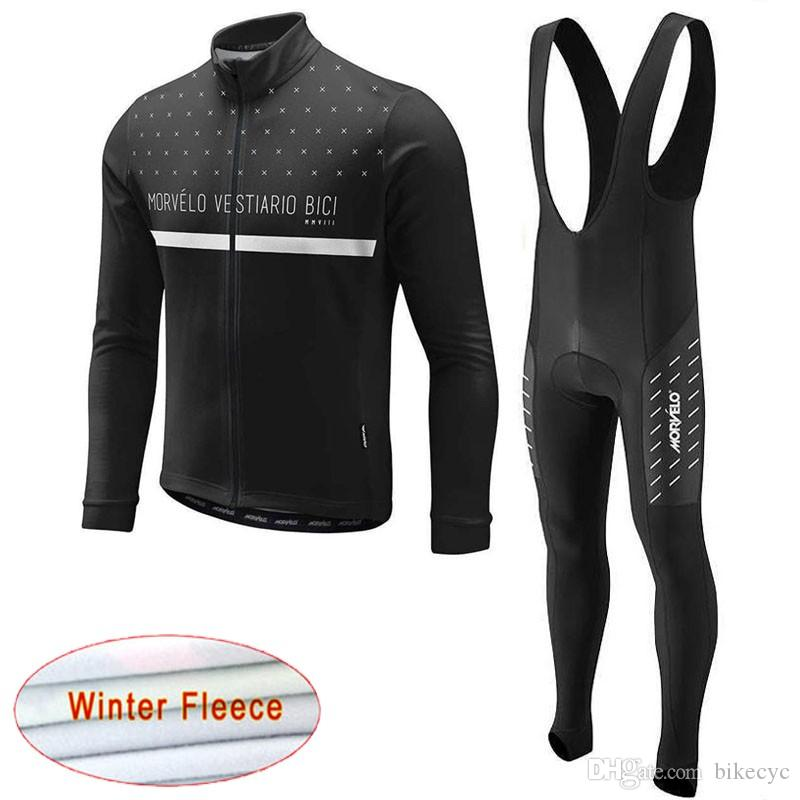 Morvelo Team Cycling Inverno Wrinal Fleece Jersey Bib Pantaloni Set Nuovo MTB Bicicletta Bicycle Set Ropa Bike Quick Dry Maniche lunghe Maillot Y201121