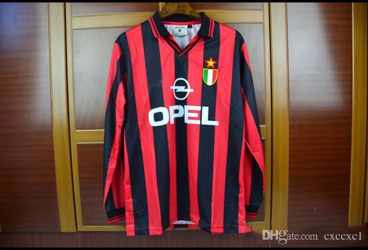 048e64b862e 96 97 AC Milan Home Long Sleeves Vintage Retro Jerseys Classic Sports  Jersesy Roberto Baggio Retro Football Shirt Camisa Camiseta Canada 2019  From Cxccxc1, ...