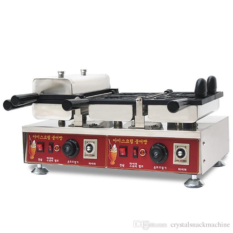 4 balık dondurma taiyaki makinesi döner sıcaklık kontrollü taiyaki pan ızgara açık ağız dondurma waffle koni makinesi aperatif ekipmanları
