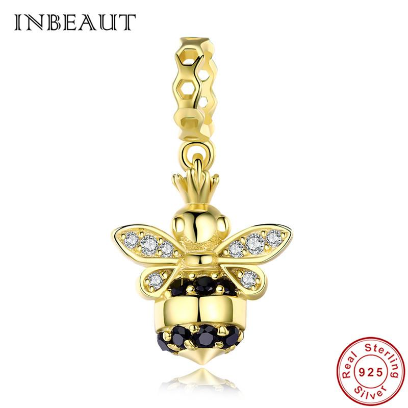 85cf4bf4b Pandora Style Women 925 Sterling Silver Queen Bee Bracelet Gold-color Cute  White Black CZ Honeybee Charm Beads for Pendant Necklace Online with  $17.85/Piece ...