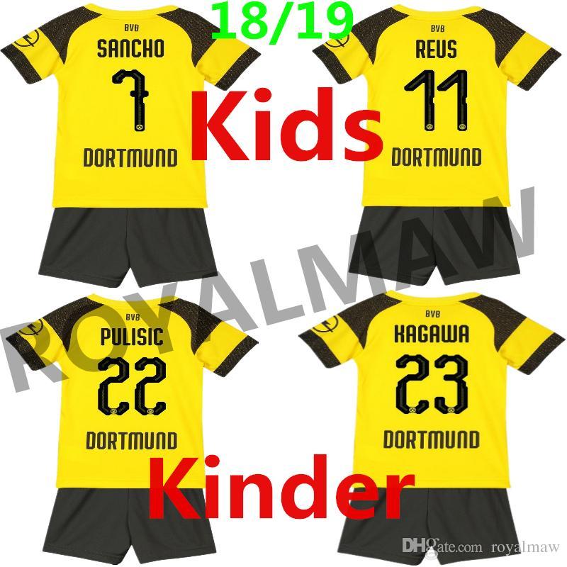 Dortmund Kids Kit 1819 Jersey Enfant Maillot 2019 Home Football ... 8d9c6d27a