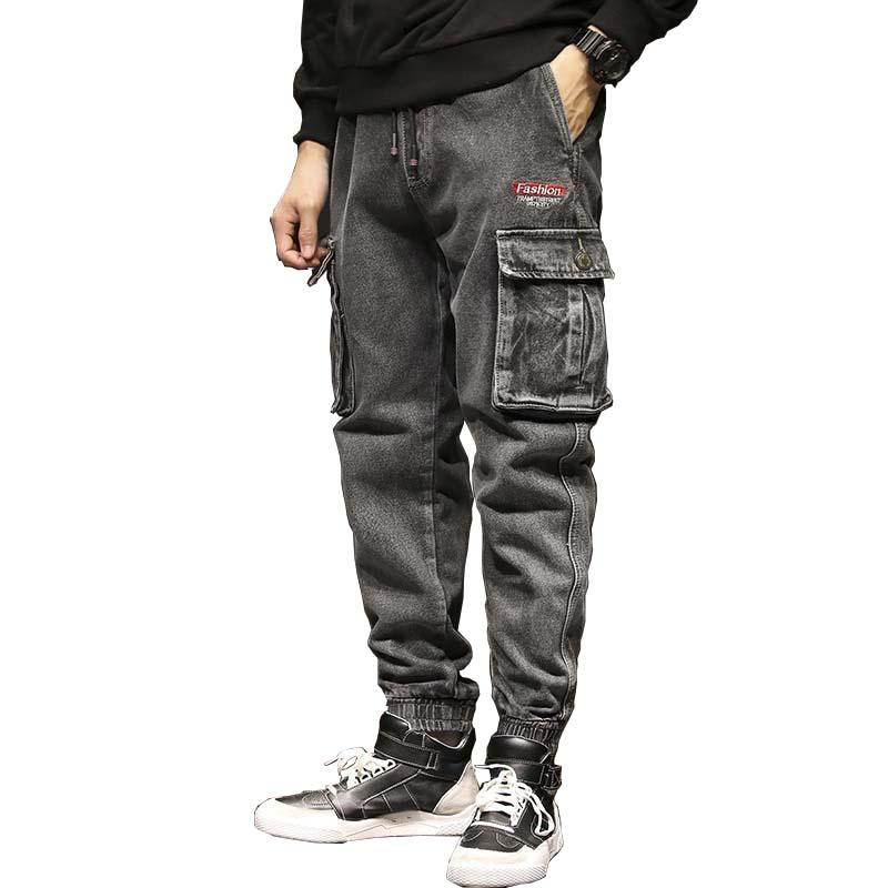 de513e0c3c 2019 New Fashion Harem Joggers Jeans Retro Cotton Men Casual Denim Cargo  Pants Loose Baggy Hip Hop Pants Big Pocket Trousers Clothing From  Swifty000, ...