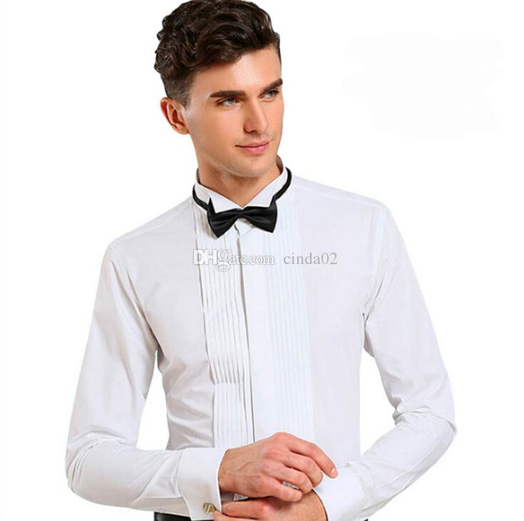 남성 긴 소매 순수한 색상 웨딩 턱시도 셔츠 새로운 핫 판매 남자 웨딩 셔츠