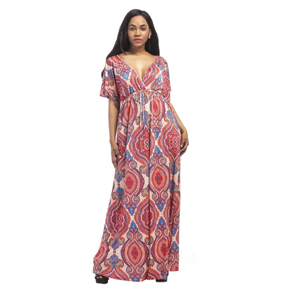 Vintage Women Plus Size Maxi Dress Geometric Print Plunge V-Neck Summer  Beach Dress Short Sleeve Dashiki Bohemian Long Dresses