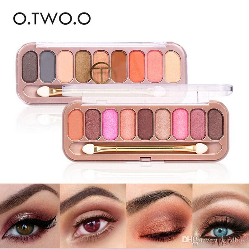 O.TWO.O Palette Eyeshadow with Double Headed Brush Shimmer Glitter Eye Shadow Long-lasting Waterproof Matte Eyeshadow DHL ship