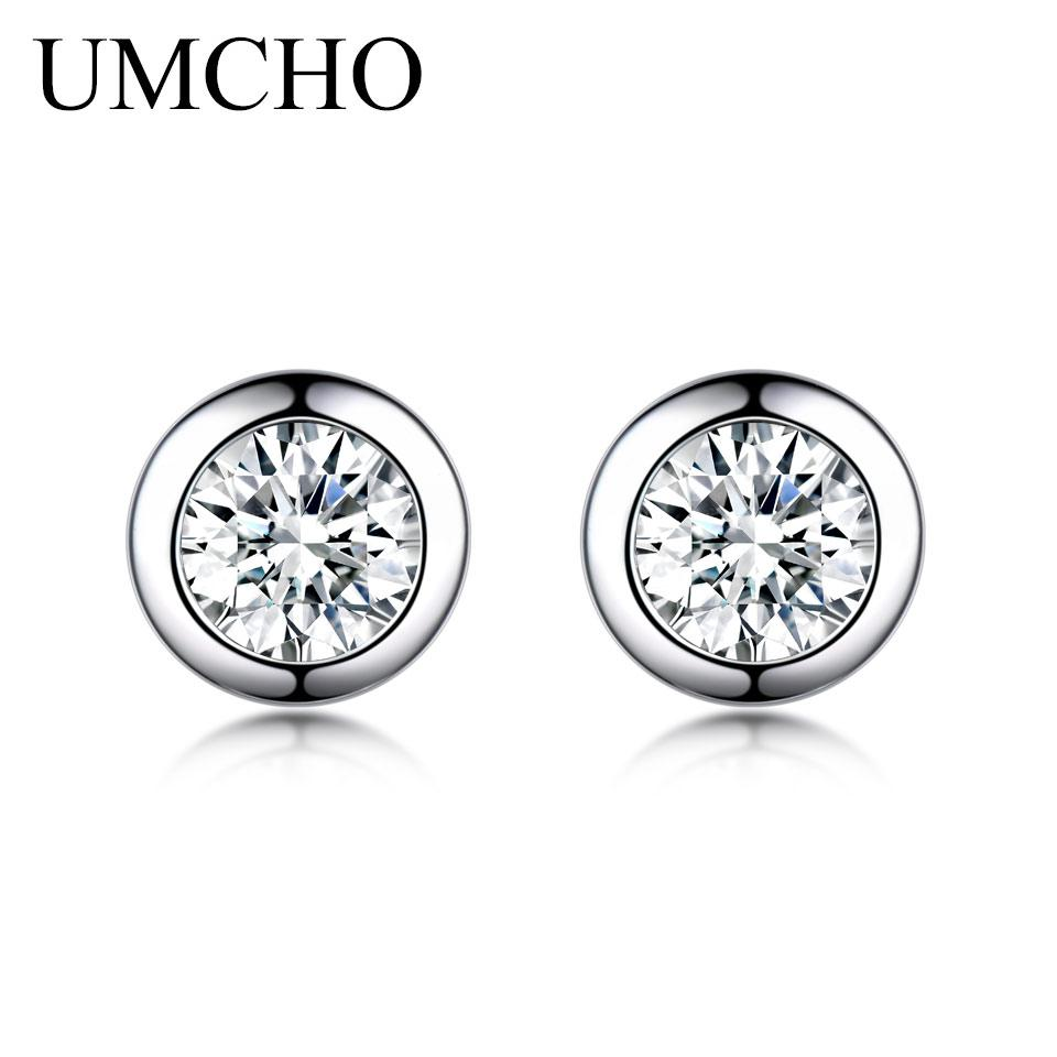5b9c61020 UMCHO Solid 925 Sterling Silver Stud Earrings For Women Zircon Cute ...