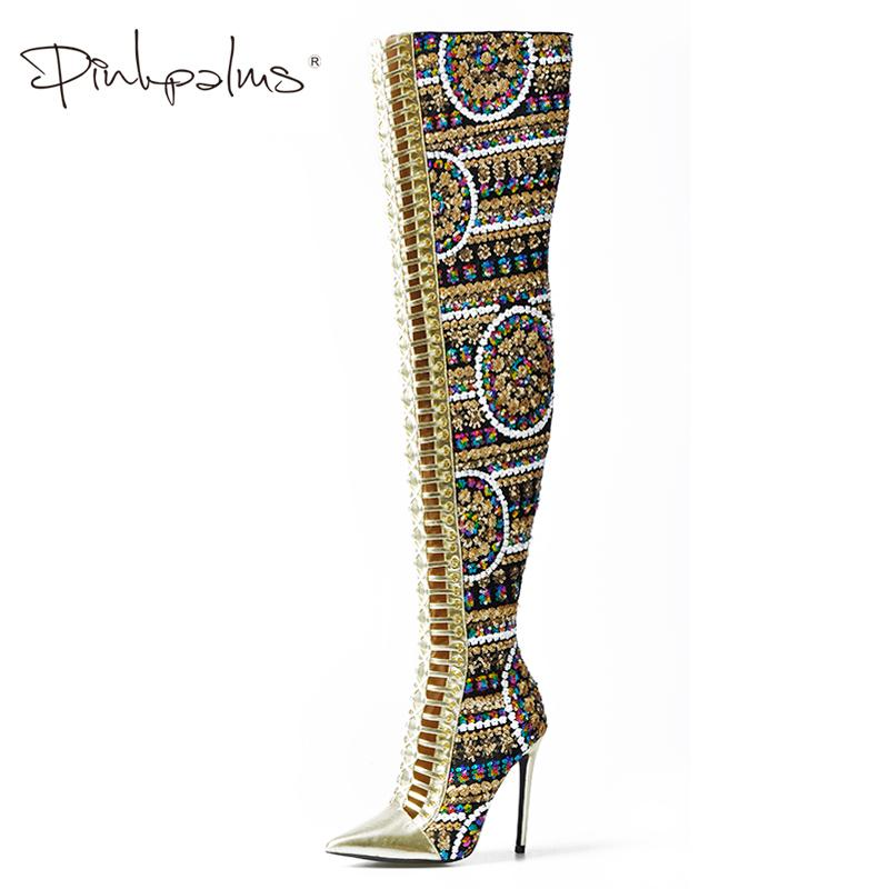a5102e701ed7 Pink Palms Women Shoes Winter Summer Shoes Sequined Cloth Over The Knee High  Heels Boots Cross Tied International Show Boots Winter Boots Over The Knee  ...