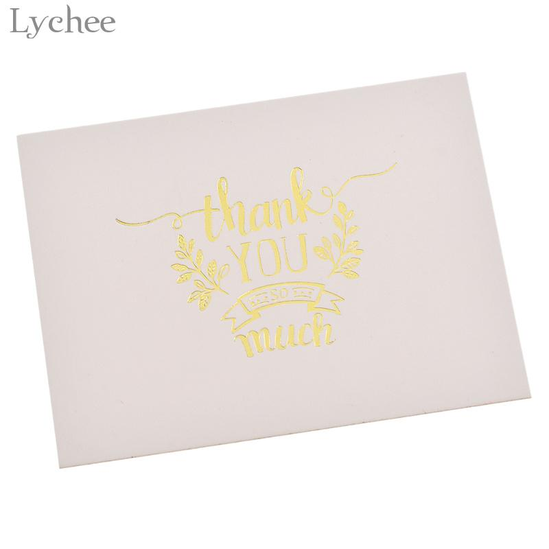 Lychee Mini Gold Embossed Thank you Card Valentine Christmas Party Invitation Letter Greeting Cards